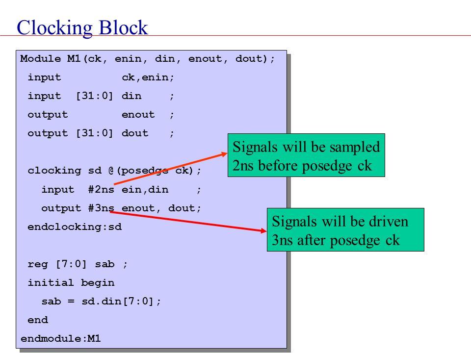 Clocking Block Signals will be sampled 2ns before posedge ck