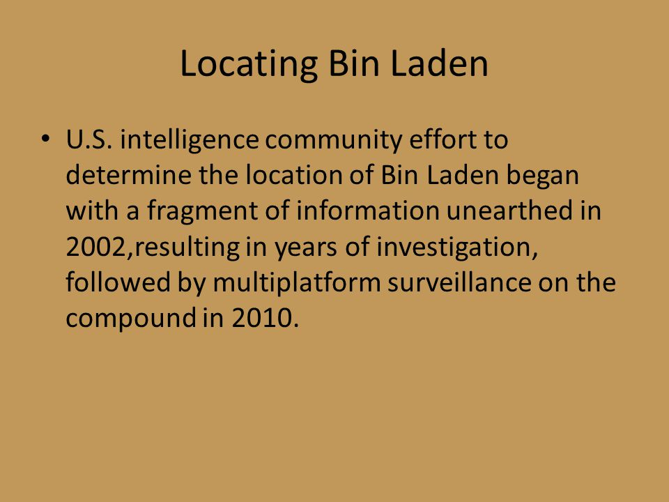 Locating Bin Laden
