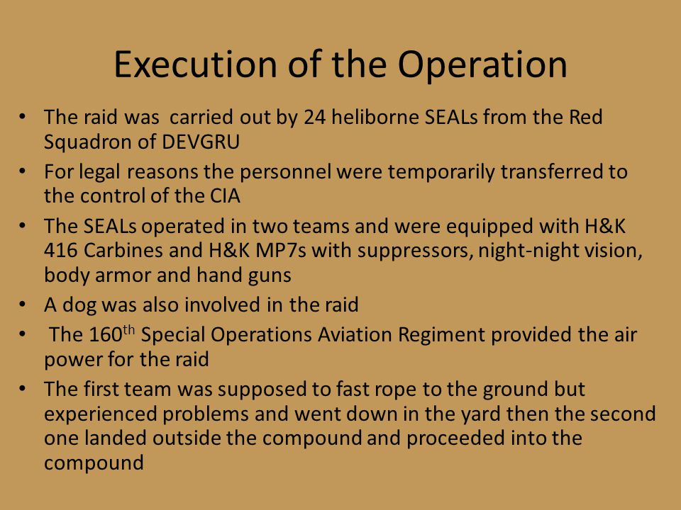 Execution of the Operation
