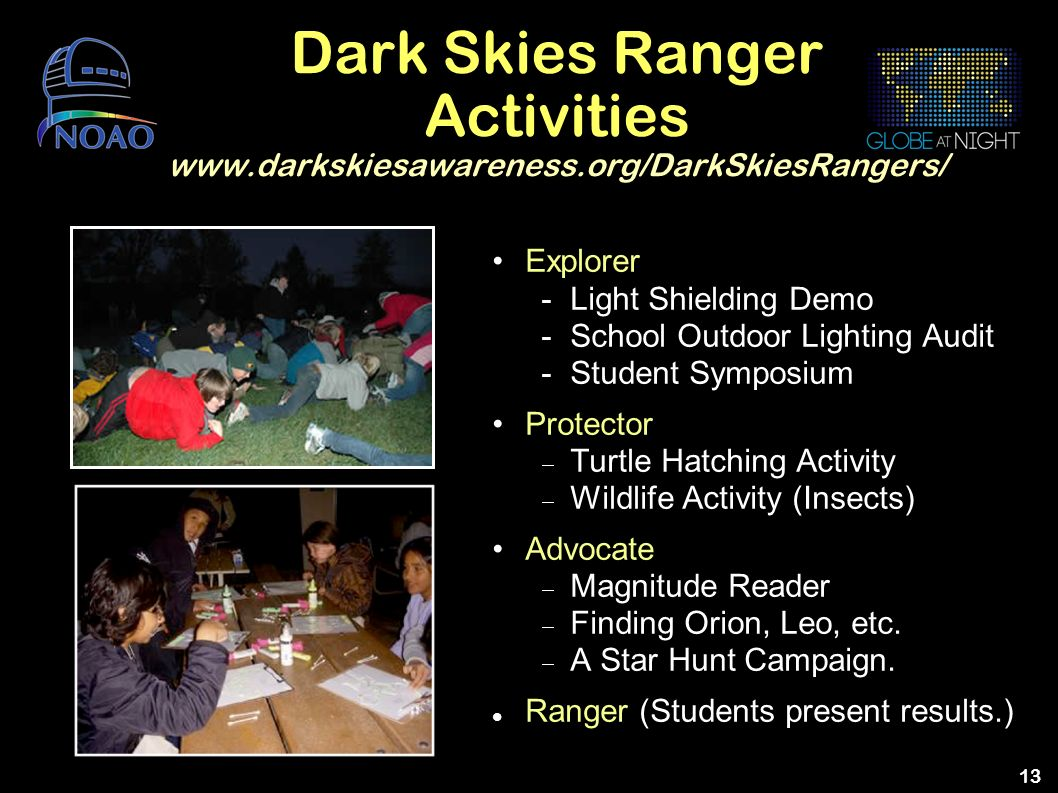 Dark Skies Ranger Activities www. darkskiesawareness