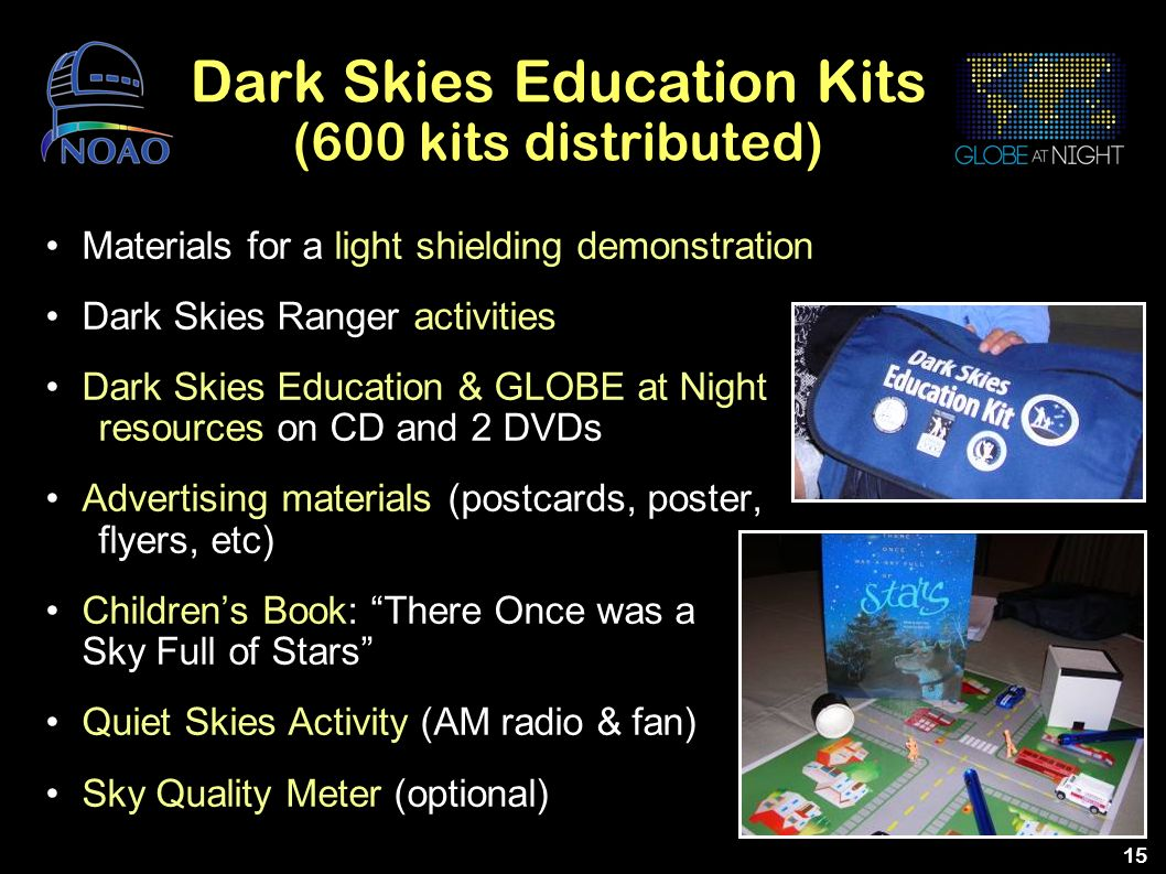 Dark Skies Education Kits (600 kits distributed)