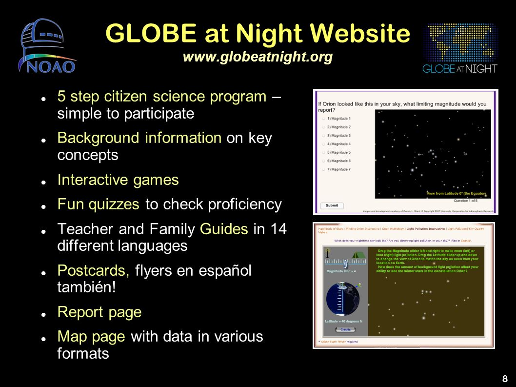 GLOBE at Night Website www.globeatnight.org