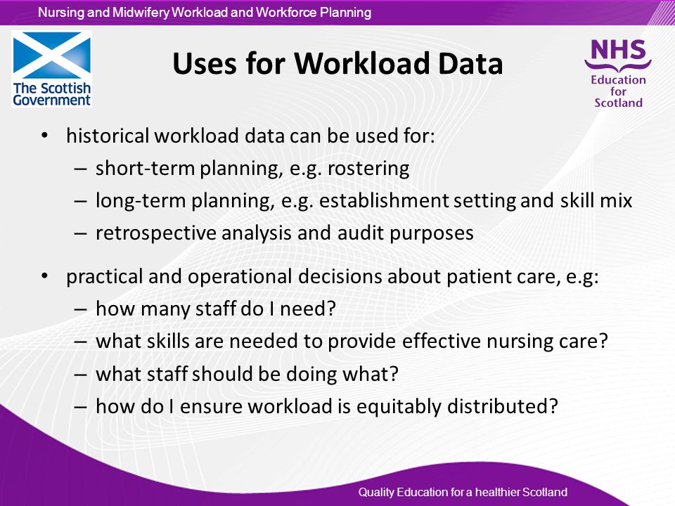 Uses for Workload Data historical workload data can be used for: