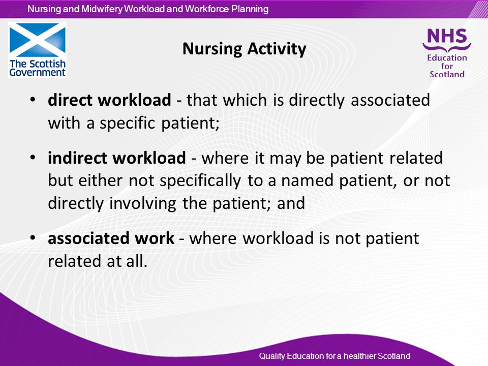 Nursing Activity direct workload - that which is directly associated with a specific patient;