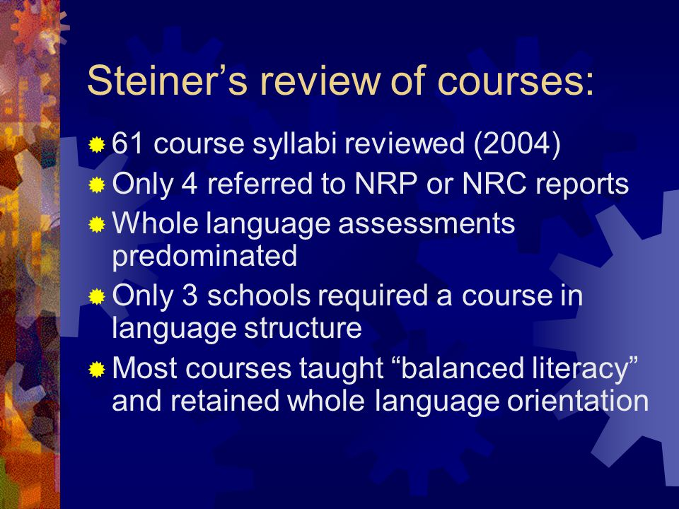 Steiner's review of courses: