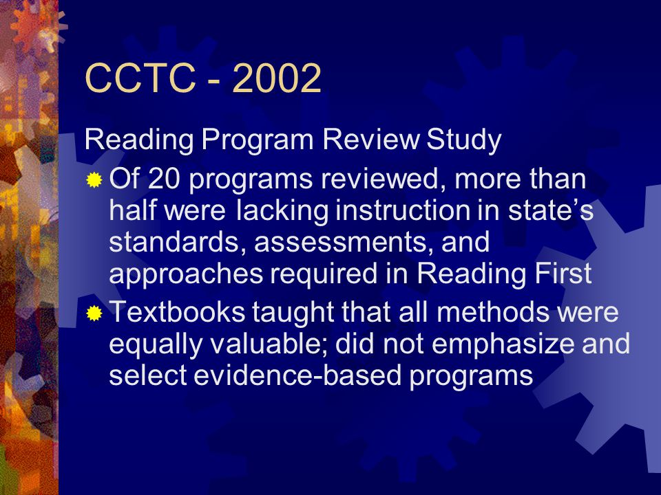 CCTC - 2002 Reading Program Review Study