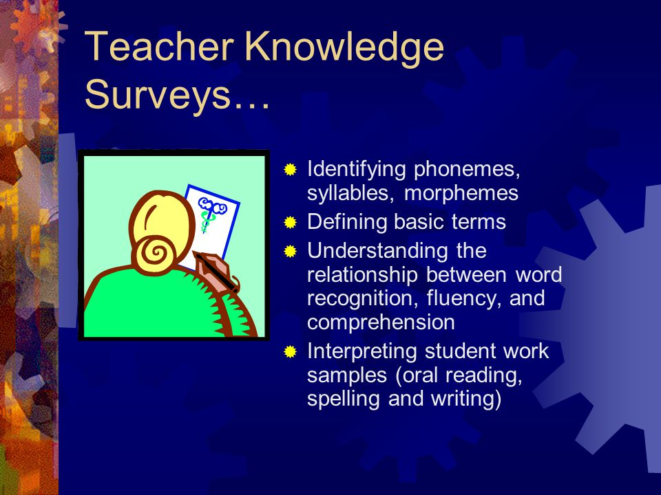 Teacher Knowledge Surveys…