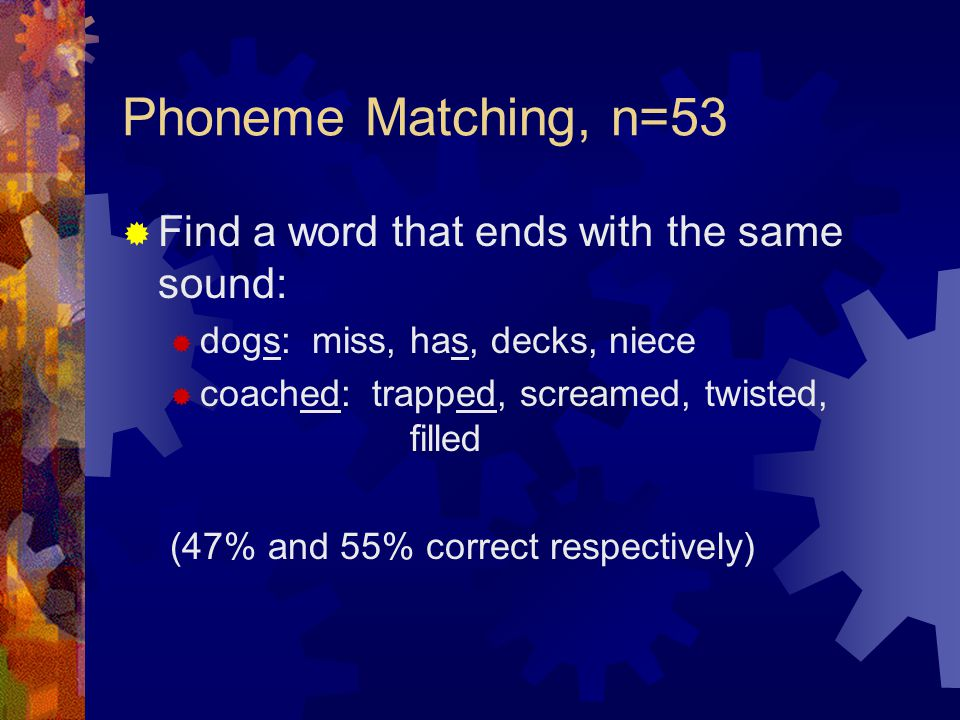 Phoneme Matching, n=53 Find a word that ends with the same sound: