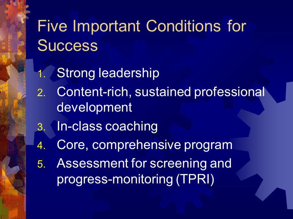 Five Important Conditions for Success