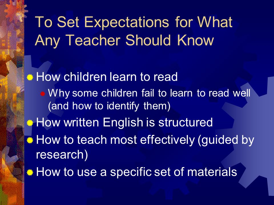 To Set Expectations for What Any Teacher Should Know