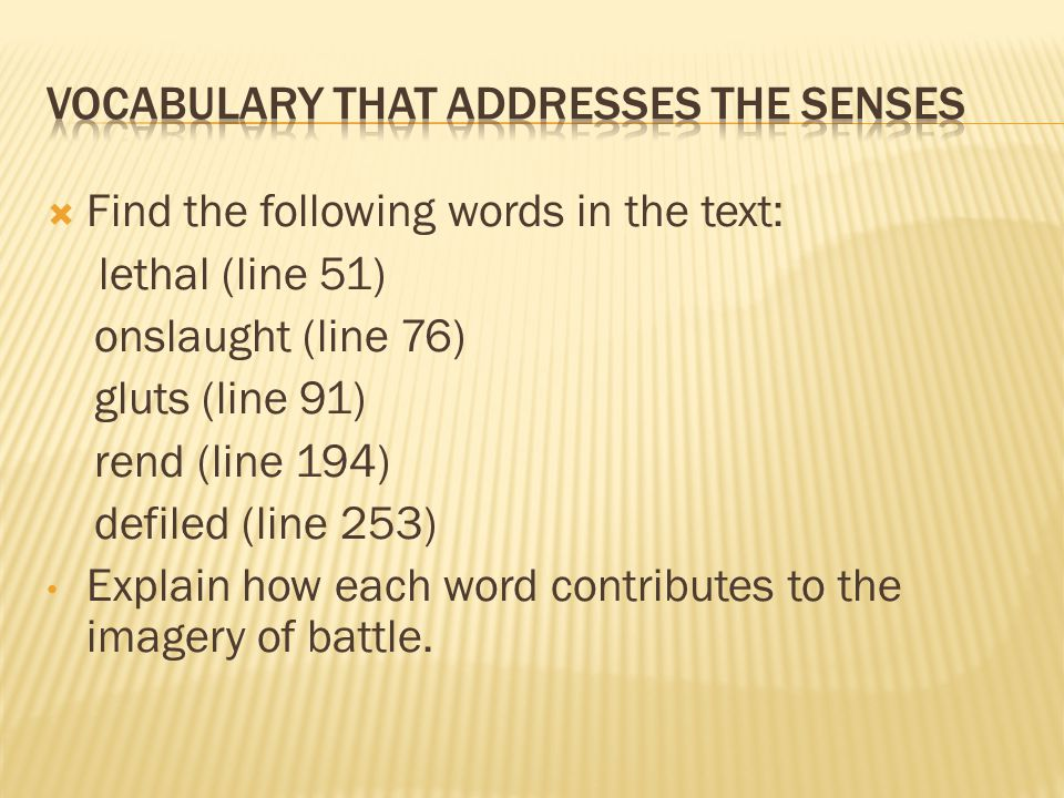 Vocabulary that Addresses the senses