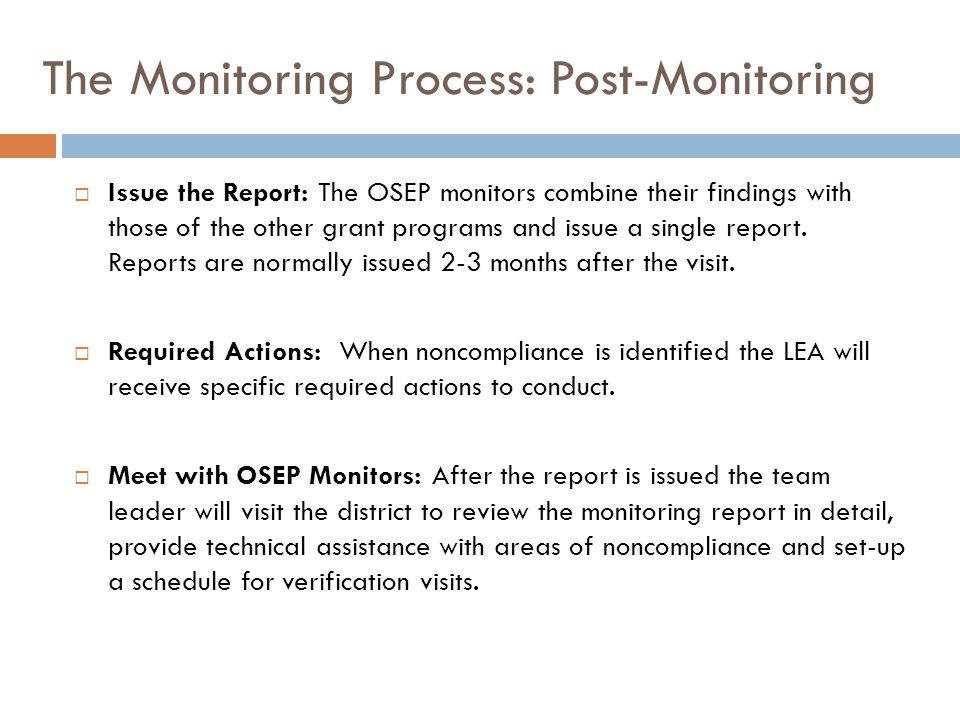 The Monitoring Process: Post-Monitoring