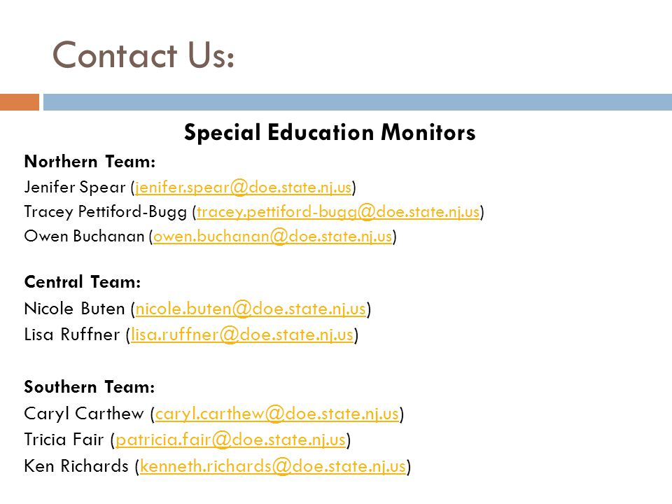Special Education Monitors