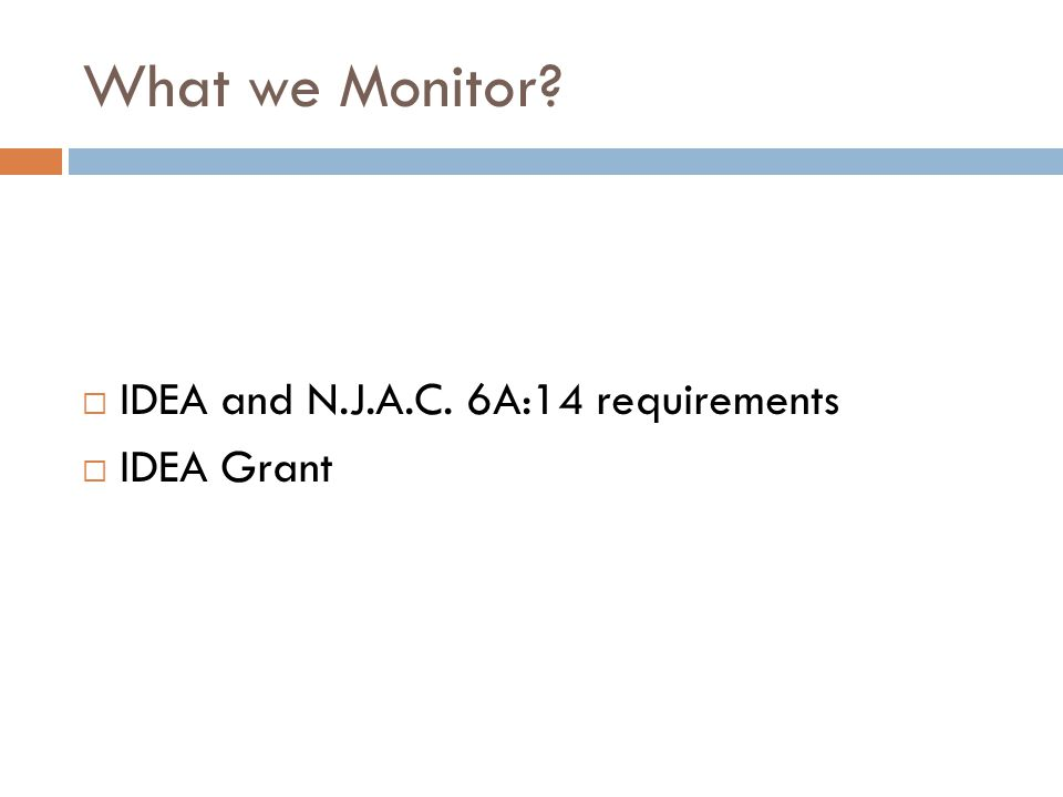 What we Monitor IDEA and N.J.A.C. 6A:14 requirements IDEA Grant