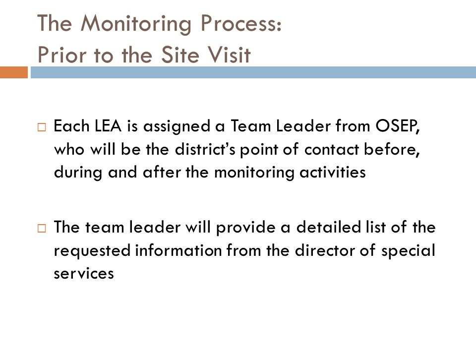 The Monitoring Process: Prior to the Site Visit