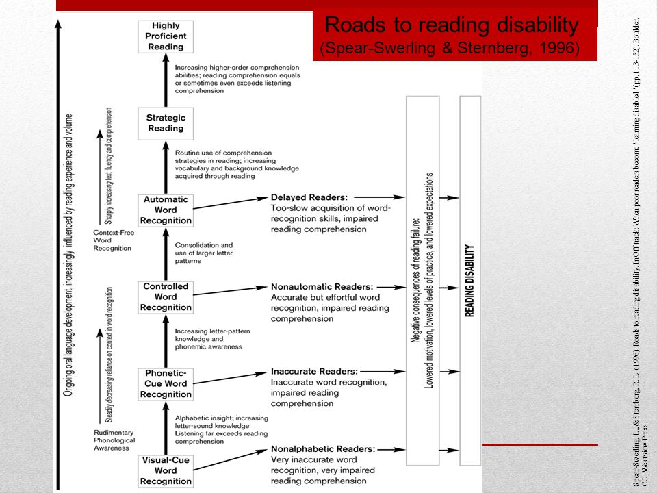Roads to reading disability (Spear-Swerling & Sternberg, 1996)