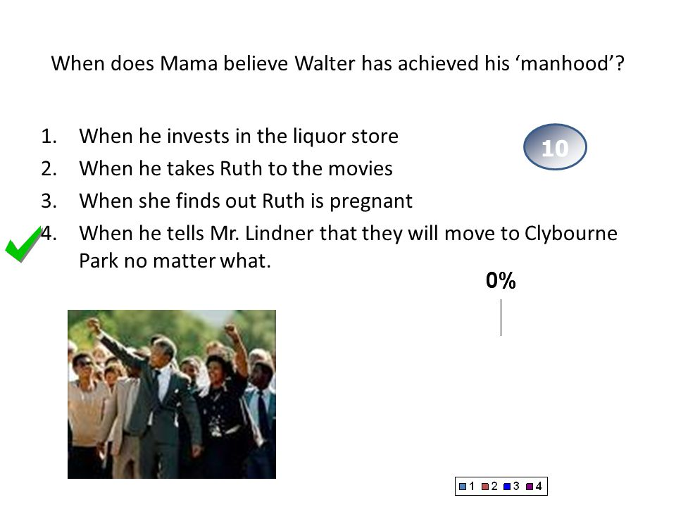 When does Mama believe Walter has achieved his 'manhood'