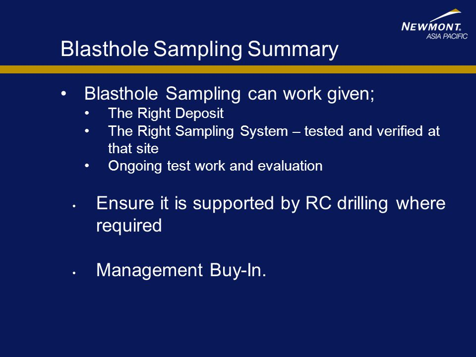 Blasthole Sampling Summary