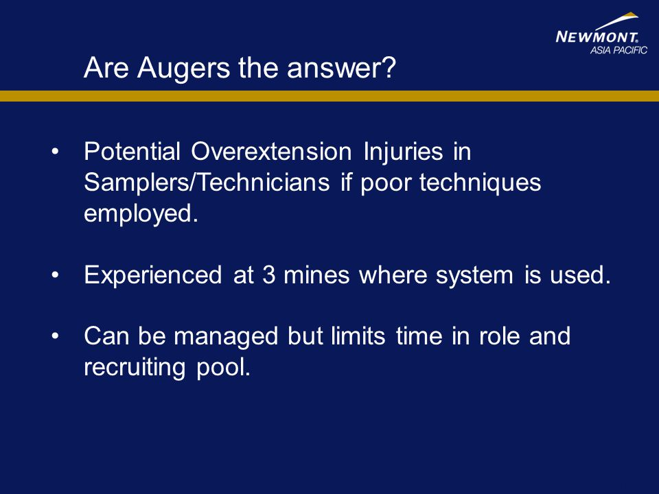 Are Augers the answer Potential Overextension Injuries in Samplers/Technicians if poor techniques employed.