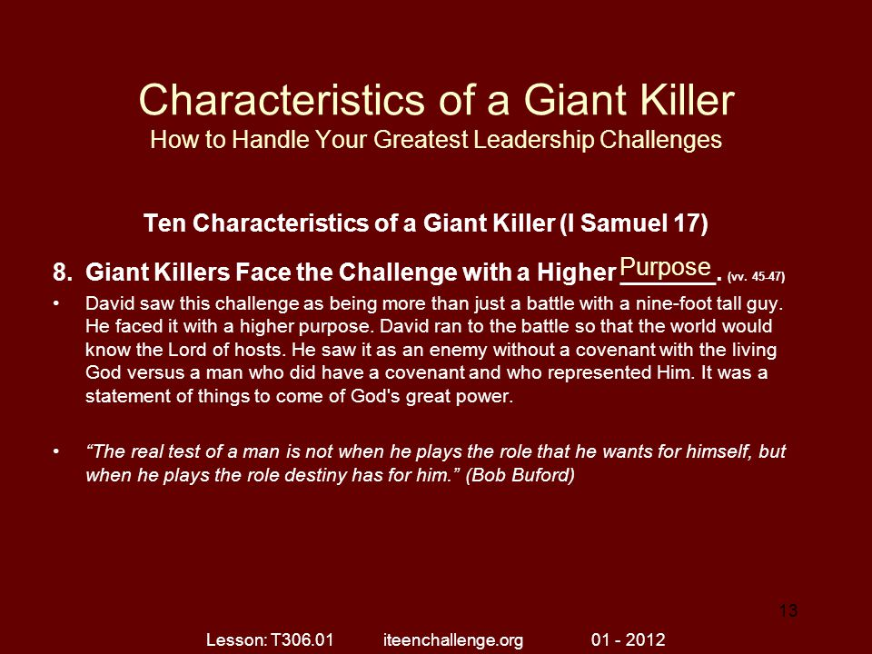 Ten Characteristics of a Giant Killer (I Samuel 17)