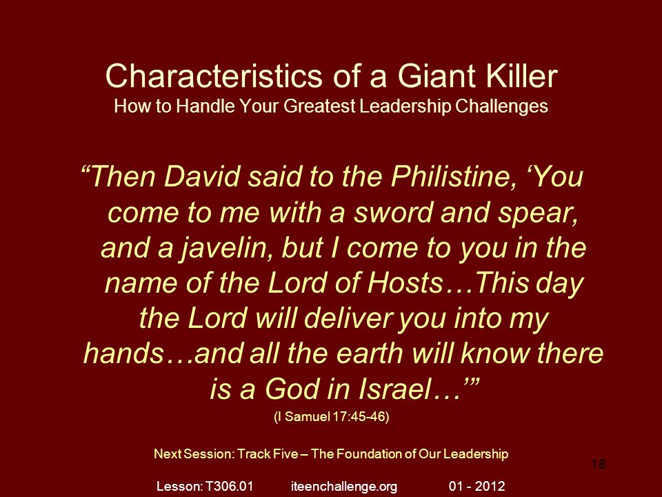 Characteristics of a Giant Killer How to Handle Your Greatest Leadership Challenges