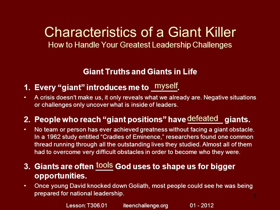 Giant Truths and Giants in Life