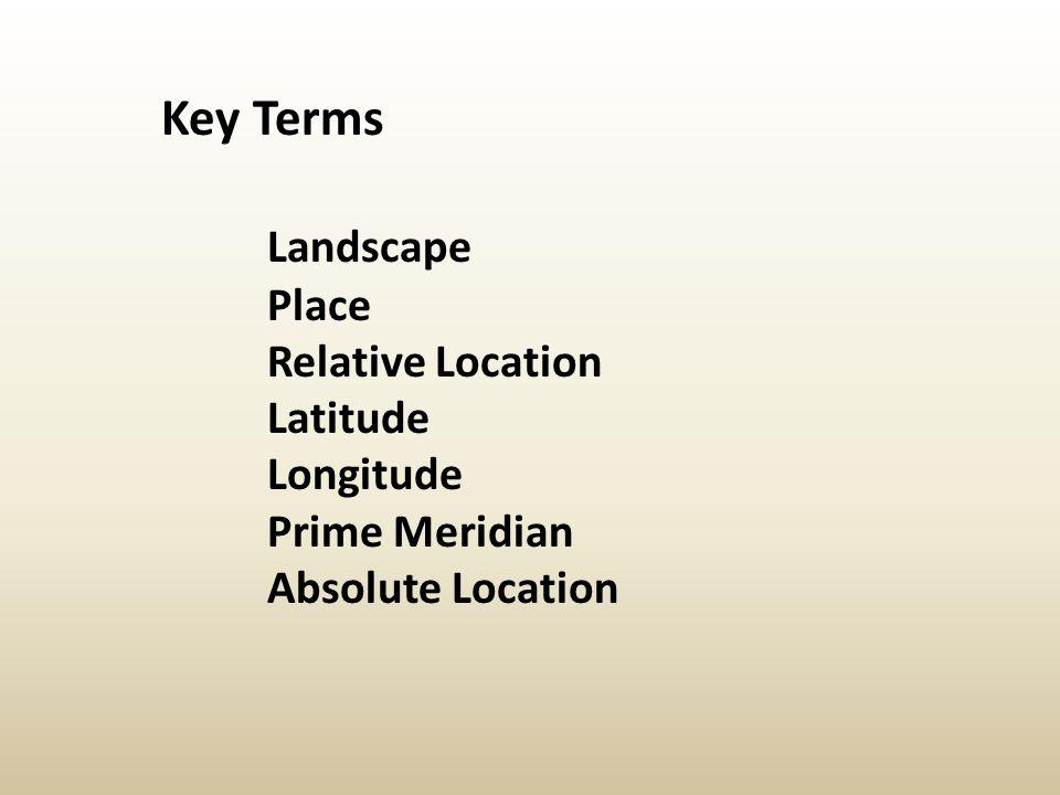 Key Terms Landscape Place Relative Location Latitude Longitude
