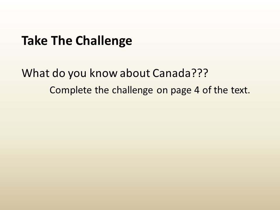 Complete the challenge on page 4 of the text.