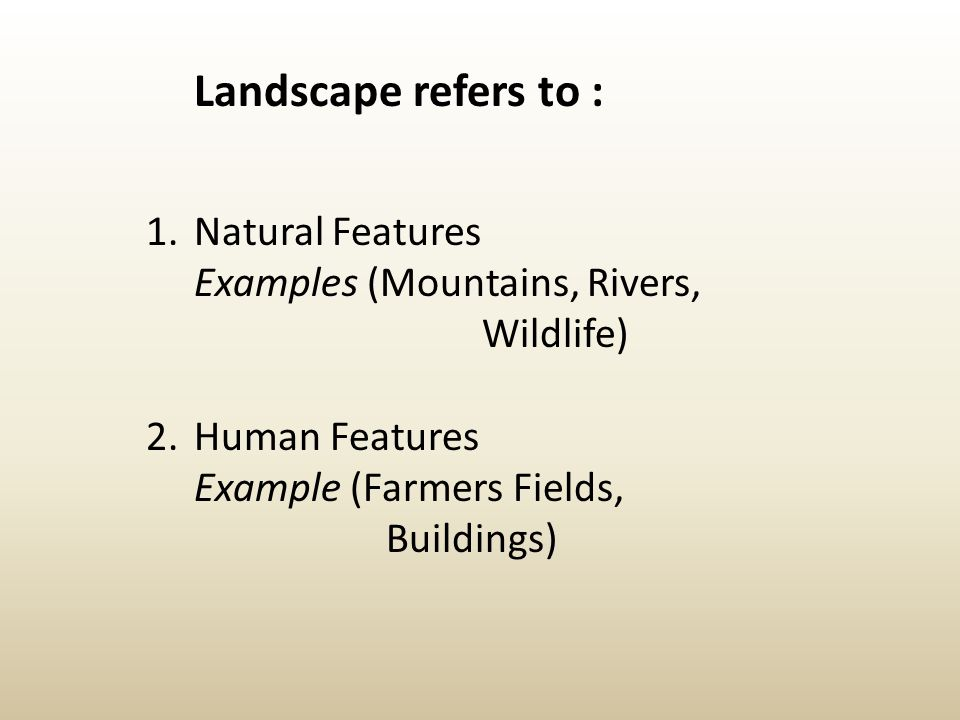 Landscape refers to : Natural Features