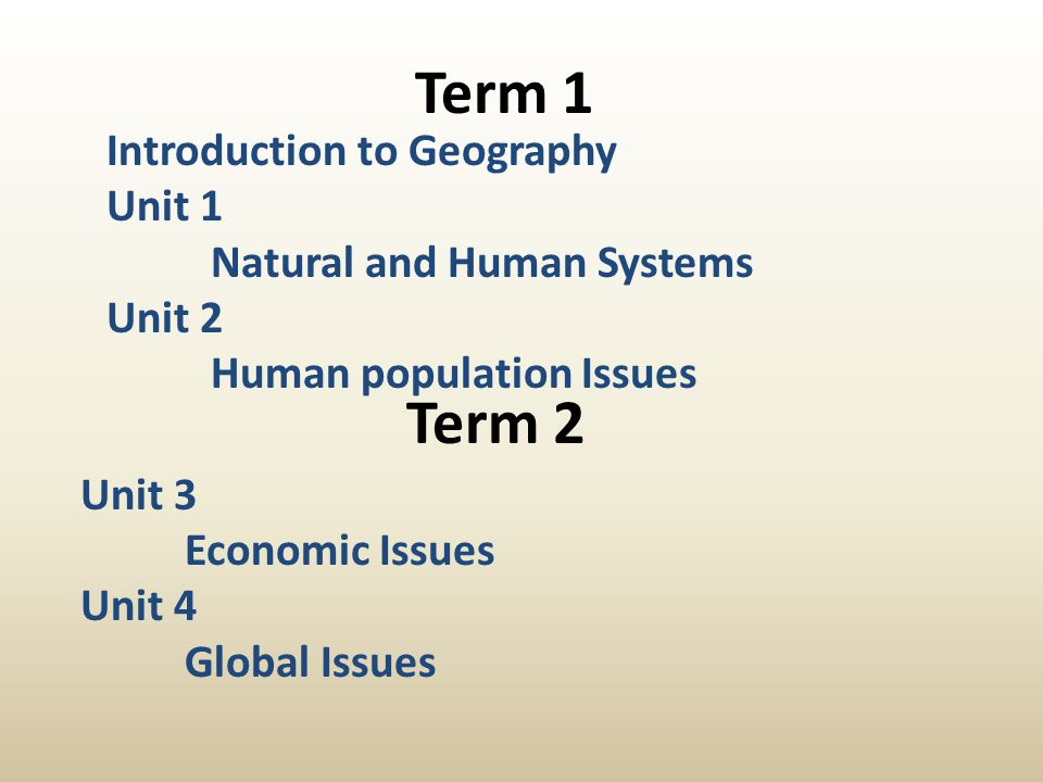 Term 1 Term 2 Introduction to Geography Unit 1