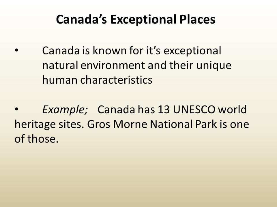 Canada's Exceptional Places