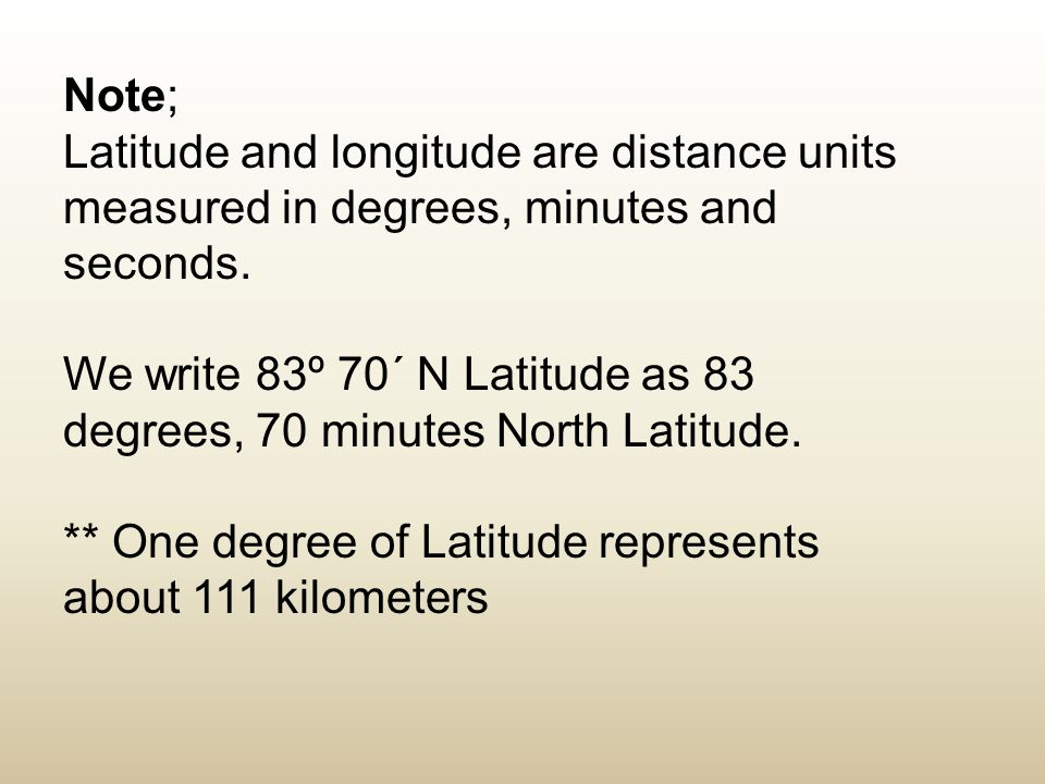 Note; Latitude and longitude are distance units measured in degrees, minutes and seconds.