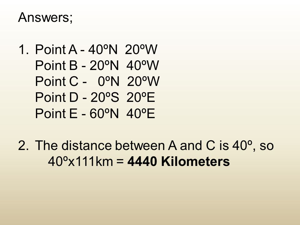 Answers; Point A - 40ºN 20ºW. Point B - 20ºN 40ºW. Point C - 0ºN 20ºW. Point D - 20ºS 20ºE.