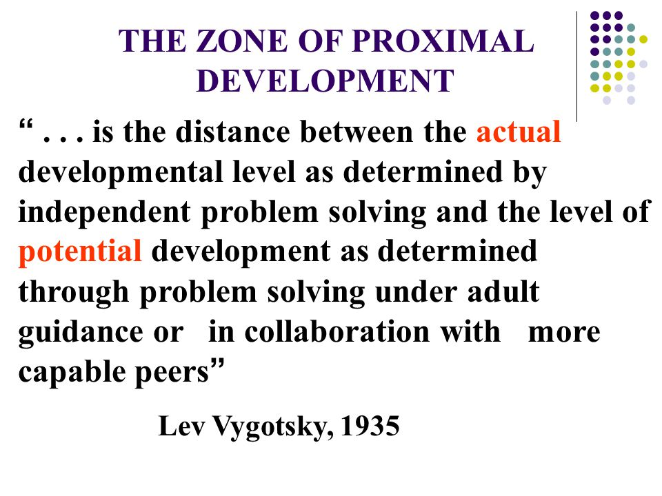 THE ZONE OF PROXIMAL DEVELOPMENT