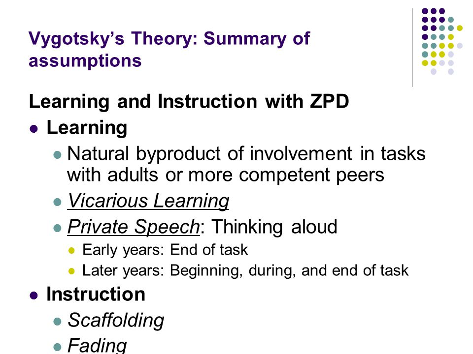 Vygotsky's Theory: Summary of assumptions