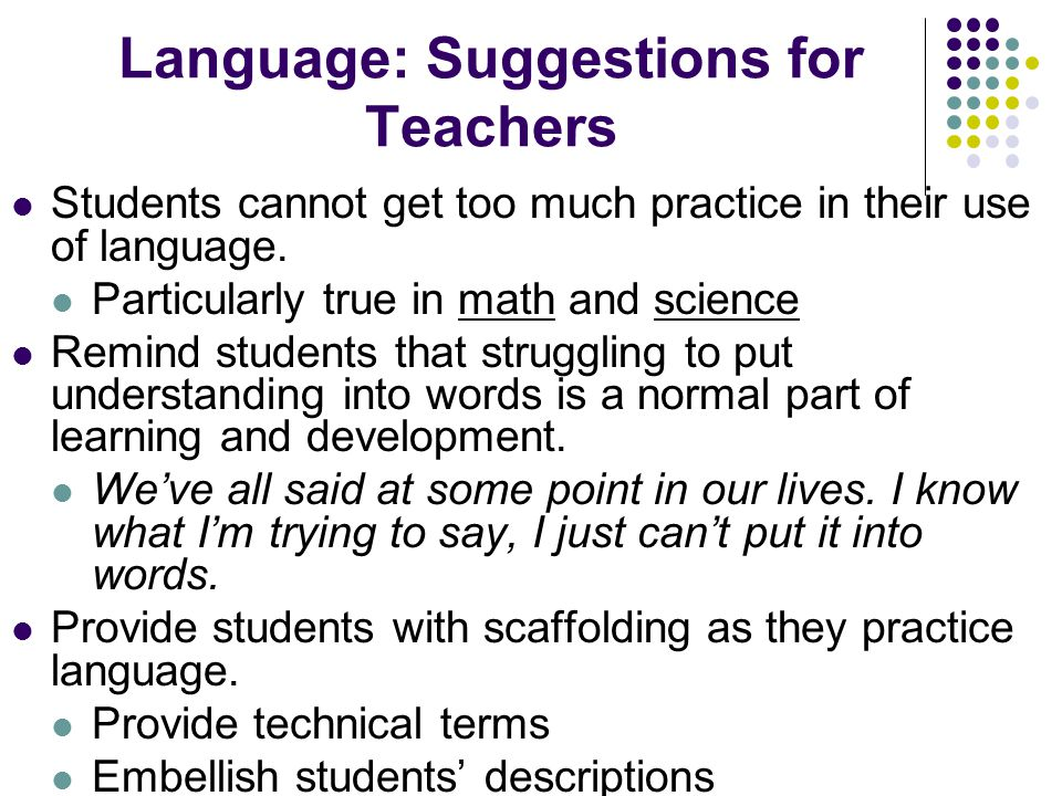 Language: Suggestions for Teachers