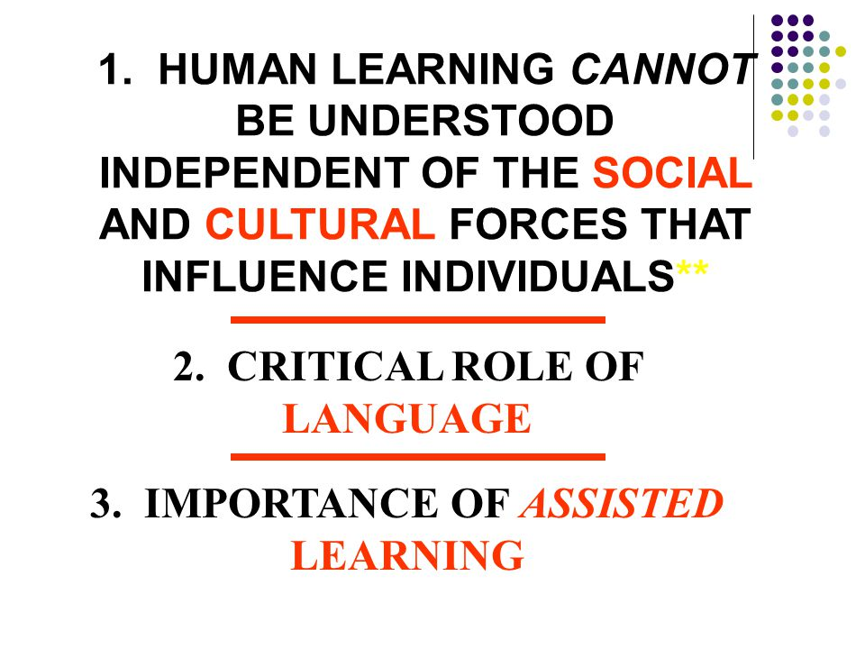 2. CRITICAL ROLE OF LANGUAGE 3. IMPORTANCE OF ASSISTED LEARNING