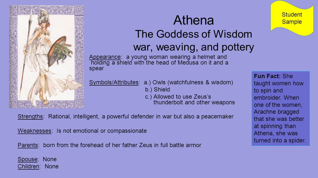 Athena The Goddess of Wisdom war, weaving, and pottery