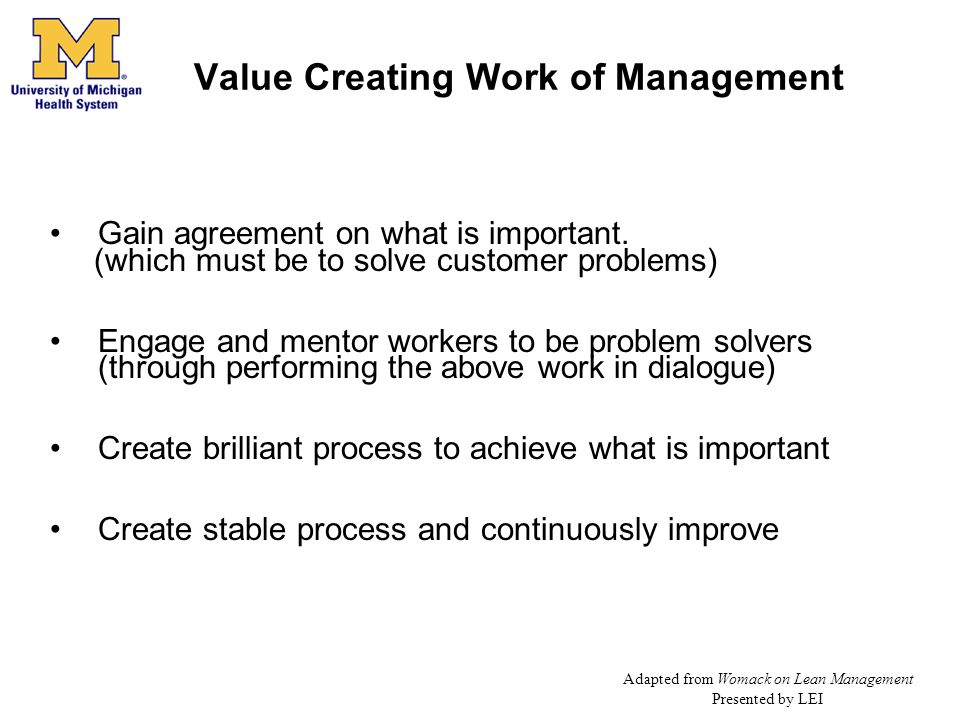 Value Creating Work of Management
