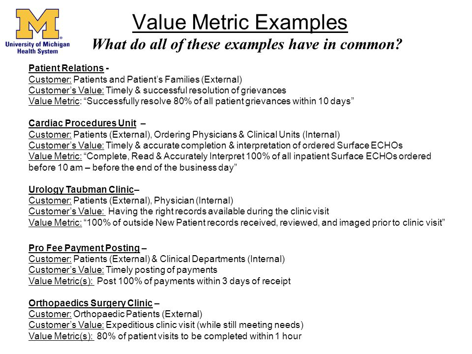 Value Metric Examples What do all of these examples have in common