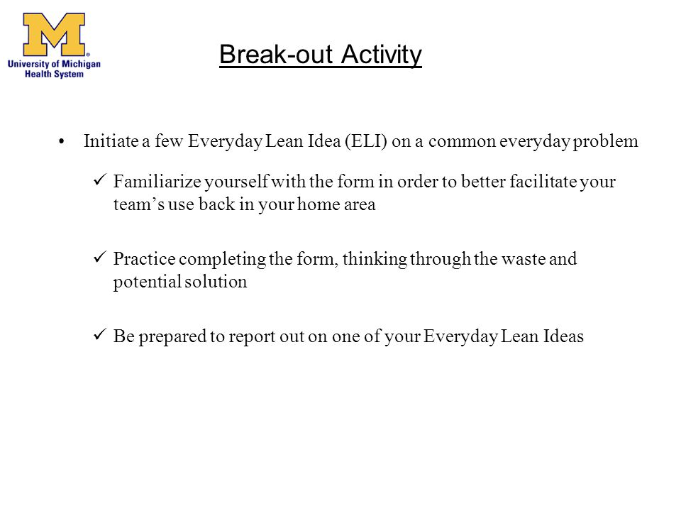 Break-out Activity Initiate a few Everyday Lean Idea (ELI) on a common everyday problem.