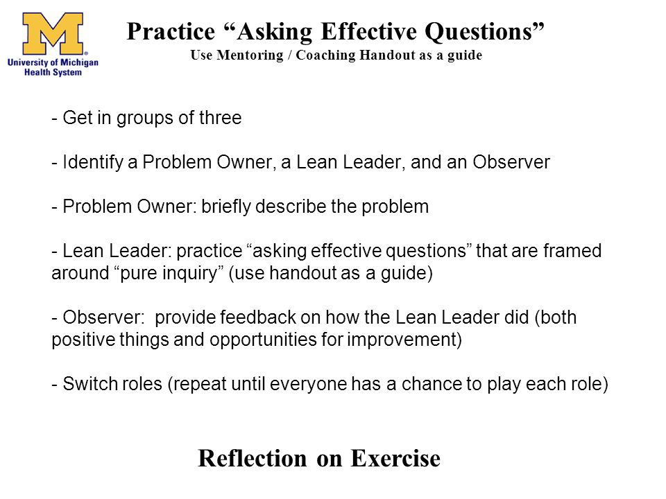 Practice Asking Effective Questions Reflection on Exercise