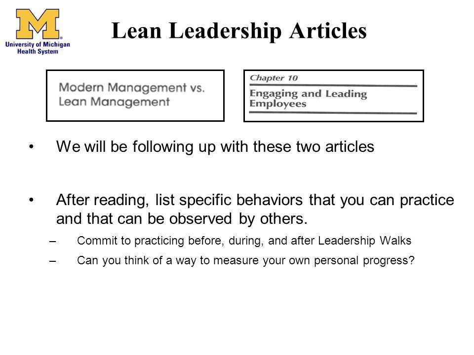 Lean Leadership Articles