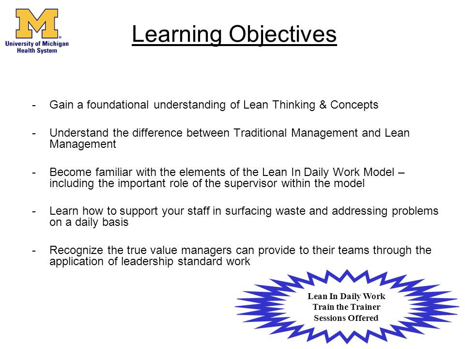 Lean In Daily Work Train the Trainer Sessions Offered