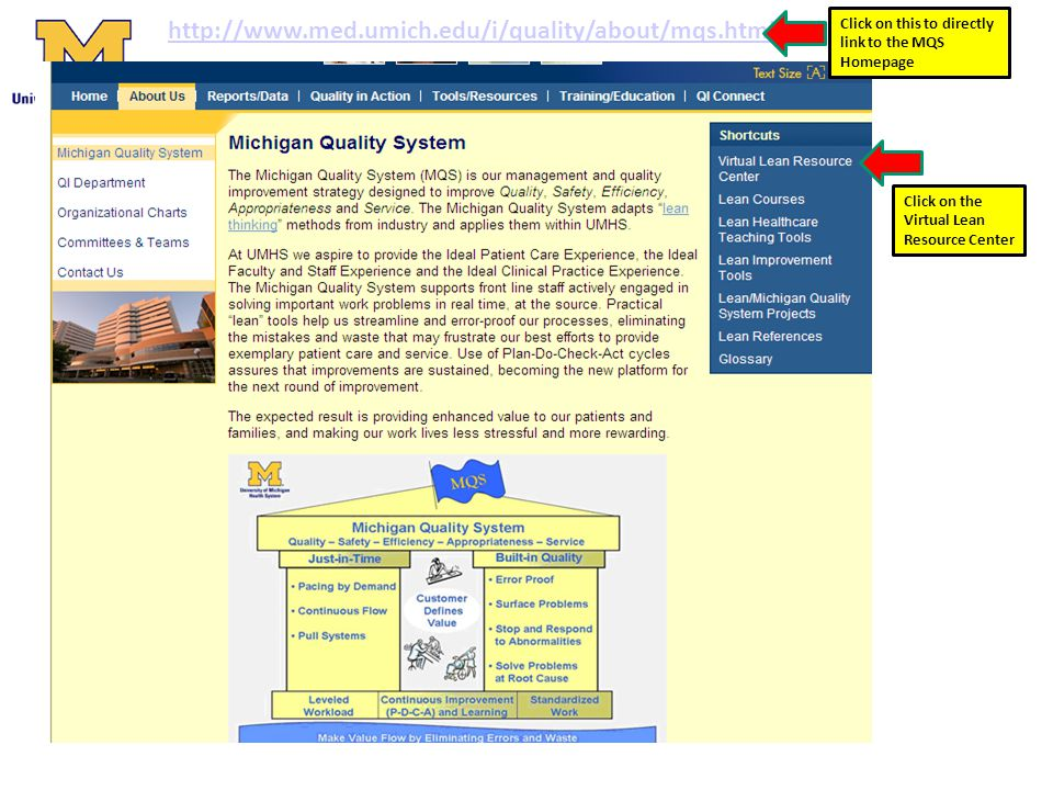 http://www.med.umich.edu/i/quality/about/mqs.html Click on this to directly link to the MQS Homepage.