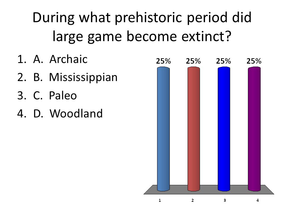 During what prehistoric period did large game become extinct