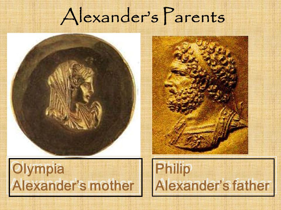 Alexander's Parents Olympia Alexander's mother Philip