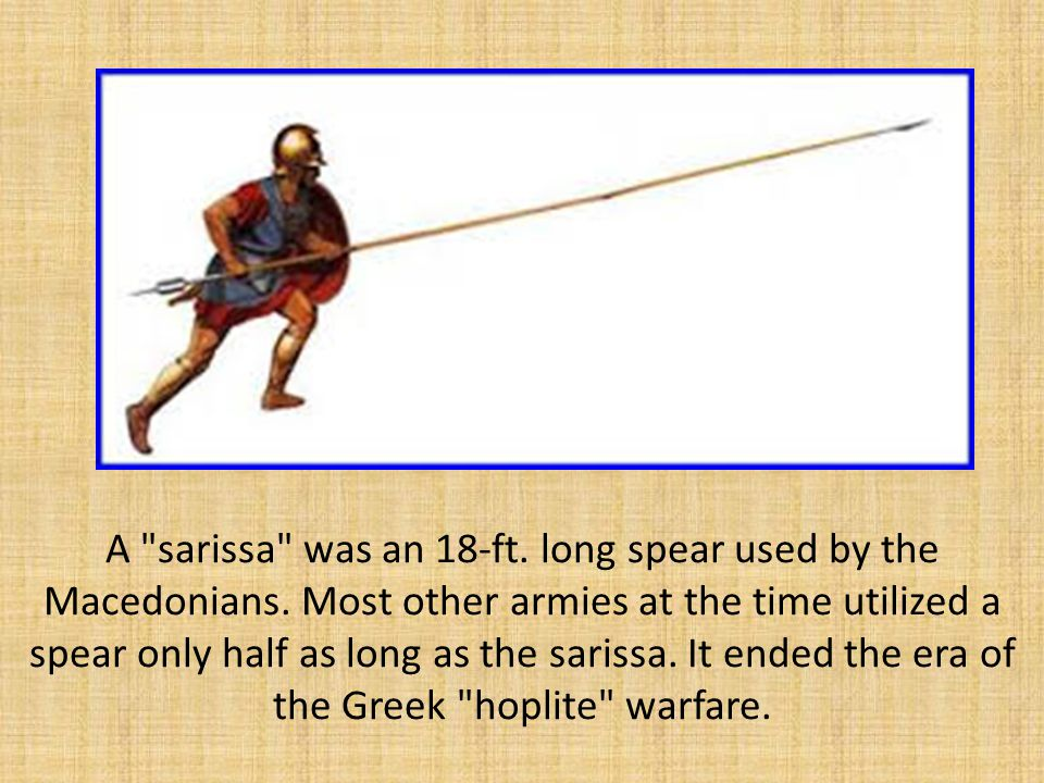 A sarissa was an 18-ft. long spear used by the Macedonians