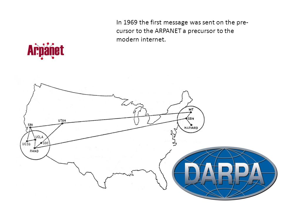 In 1969 the first message was sent on the pre-cursor to the ARPANET a precursor to the modern internet.
