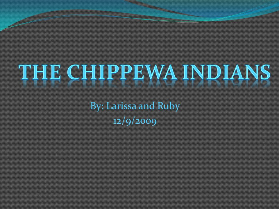 The Chippewa Indians By: Larissa and Ruby 12/9/2009